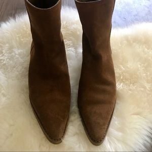 AUTHENTIC GUCCI ALMOND SUEDE BOOTIES